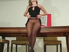 Hot quim in black pantyhose
